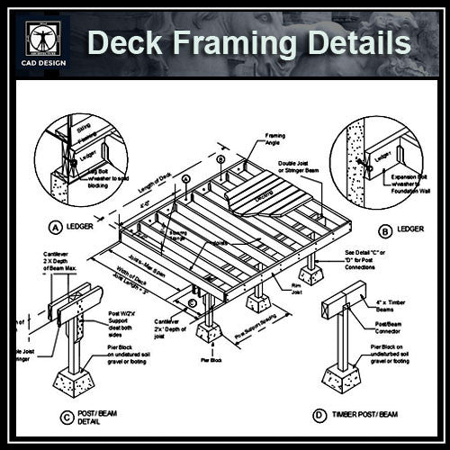 Free CAD Details-Deck Framing Details - CAD Design | Download CAD Drawings | AutoCAD Blocks | AutoCAD Symbols | CAD Drawings | Architecture Details│Landscape Details | See more about AutoCAD, Cad Drawing and Architecture Details
