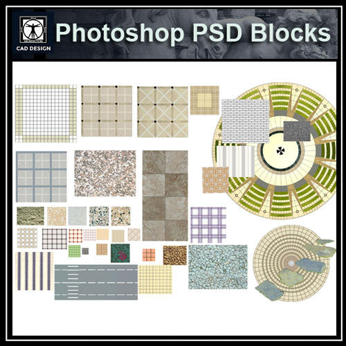 Photoshop PSD Paving Design Blocks 1 - CAD Design | Download CAD Drawings | AutoCAD Blocks | AutoCAD Symbols | CAD Drawings | Architecture Details│Landscape Details | See more about AutoCAD, Cad Drawing and Architecture Details