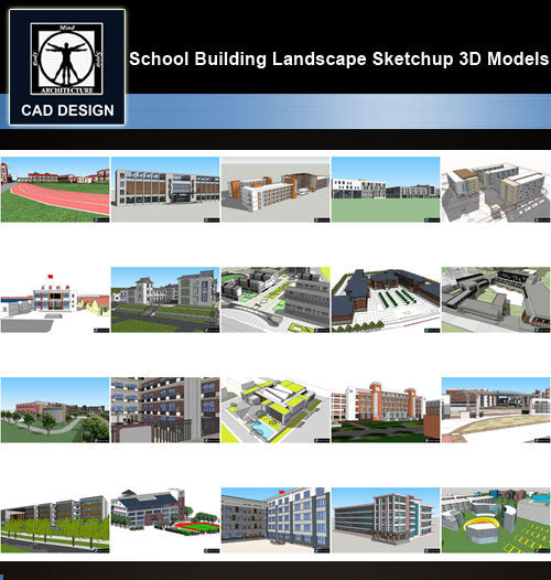【Sketchup 3D Models】20 Types of School Design Sketchup 3D Models  V.1 - CAD Design | Download CAD Drawings | AutoCAD Blocks | AutoCAD Symbols | CAD Drawings | Architecture Details│Landscape Details | See more about AutoCAD, Cad Drawing and Architecture Details