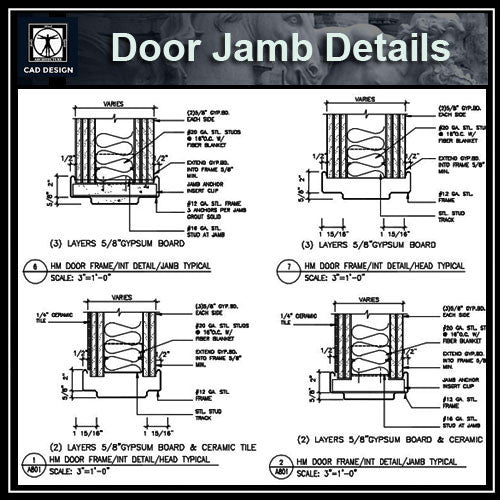 Door jamb details download cad details autocad blocks for Door jamb detail