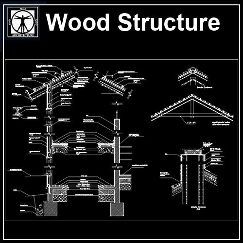 Wood Structure Details - CAD Design | Download CAD Drawings | AutoCAD Blocks | AutoCAD Symbols | CAD Drawings | Architecture Details│Landscape Details | See more about AutoCAD, Cad Drawing and Architecture Details