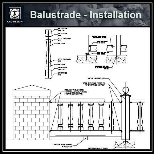 Free CAD Details-Balustrade-Installation - CAD Design | Download CAD Drawings | AutoCAD Blocks | AutoCAD Symbols | CAD Drawings | Architecture Details│Landscape Details | See more about AutoCAD, Cad Drawing and Architecture Details