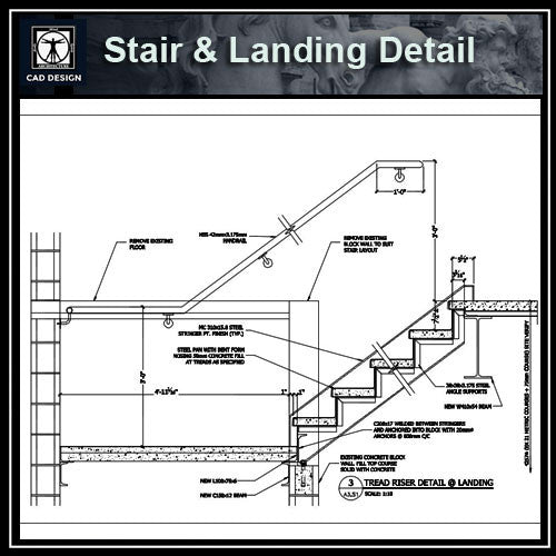 Free CAD Details-Stair @ Landing Detail - CAD Design | Download CAD Drawings | AutoCAD Blocks | AutoCAD Symbols | CAD Drawings | Architecture Details│Landscape Details | See more about AutoCAD, Cad Drawing and Architecture Details