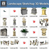European Landscape Elements 3D Models-Sketchup 3D Models - CAD Design | Download CAD Drawings | AutoCAD Blocks | AutoCAD Symbols | CAD Drawings | Architecture Details│Landscape Details | See more about AutoCAD, Cad Drawing and Architecture Details