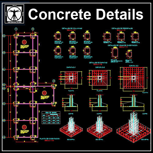 Concrete Details - CAD Design | Download CAD Drawings | AutoCAD Blocks | AutoCAD Symbols | CAD Drawings | Architecture Details│Landscape Details | See more about AutoCAD, Cad Drawing and Architecture Details