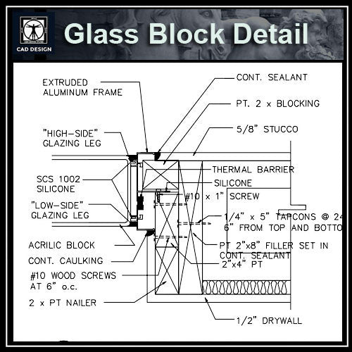 Free CAD Details-Glass Block Detail - CAD Design | Download CAD Drawings | AutoCAD Blocks | AutoCAD Symbols | CAD Drawings | Architecture Details│Landscape Details | See more about AutoCAD, Cad Drawing and Architecture Details