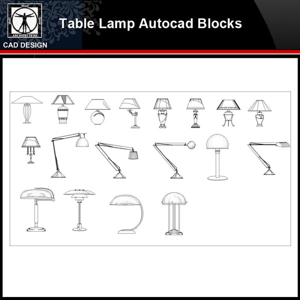 ★【 Modern Table Lamp Autocad Blocks】-All kinds of Autocad Blocks Collection - CAD Design | Download CAD Drawings | AutoCAD Blocks | AutoCAD Symbols | CAD Drawings | Architecture Details│Landscape Details | See more about AutoCAD, Cad Drawing and Architecture Details