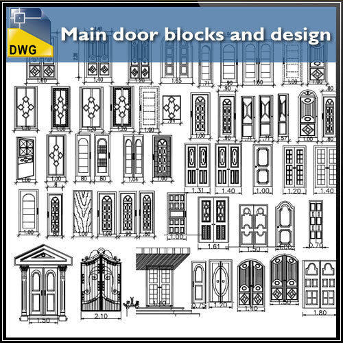 Main door blocks and design - CAD Design | Download CAD Drawings | AutoCAD Blocks | AutoCAD Symbols | CAD Drawings | Architecture Details│Landscape Details | See more about AutoCAD, Cad Drawing and Architecture Details