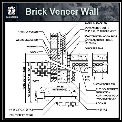 Free CAD Details-Brick Veneer Wall & Slab - CAD Design | Download CAD Drawings | AutoCAD Blocks | AutoCAD Symbols | CAD Drawings | Architecture Details│Landscape Details | See more about AutoCAD, Cad Drawing and Architecture Details