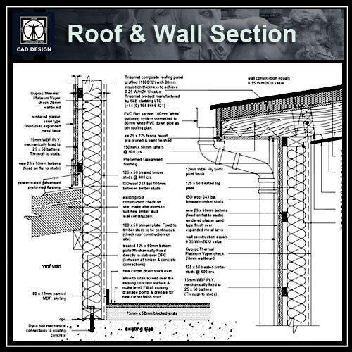 Roof & Wall Section Details - CAD Design | Download CAD Drawings | AutoCAD Blocks | AutoCAD Symbols | CAD Drawings | Architecture Details│Landscape Details | See more about AutoCAD, Cad Drawing and Architecture Details