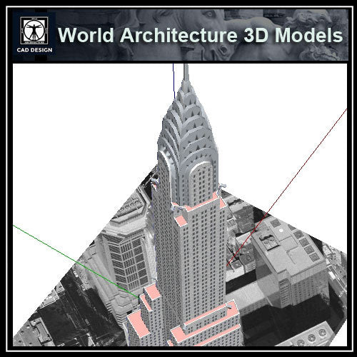 Sketchup 3D Architecture models- 3D Chrysler Building - CAD Design | Download CAD Drawings | AutoCAD Blocks | AutoCAD Symbols | CAD Drawings | Architecture Details│Landscape Details | See more about AutoCAD, Cad Drawing and Architecture Details