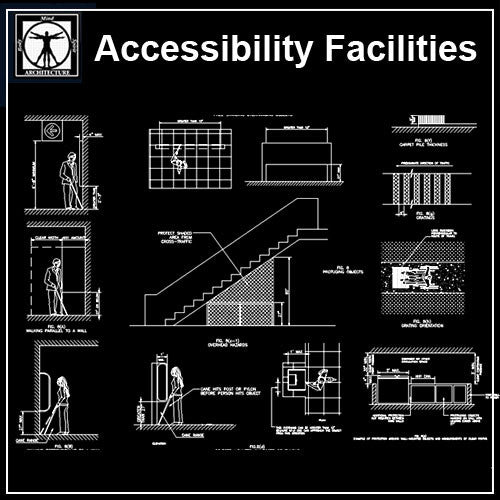 Accessibility Facilities Drawings V2 - CAD Design | Download CAD Drawings | AutoCAD Blocks | AutoCAD Symbols | CAD Drawings | Architecture Details│Landscape Details | See more about AutoCAD, Cad Drawing and Architecture Details