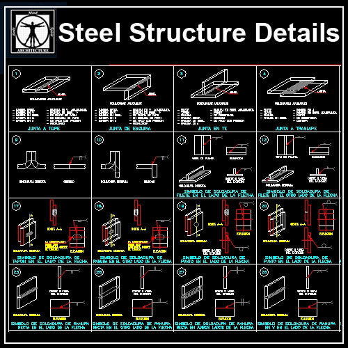 Free Steel Structure Details 6 - CAD Design | Download CAD Drawings | AutoCAD Blocks | AutoCAD Symbols | CAD Drawings | Architecture Details│Landscape Details | See more about AutoCAD, Cad Drawing and Architecture Details