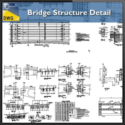 Bridge Structure Detail - CAD Design | Download CAD Drawings | AutoCAD Blocks | AutoCAD Symbols | CAD Drawings | Architecture Details│Landscape Details | See more about AutoCAD, Cad Drawing and Architecture Details
