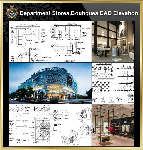 ★【Shopping Centers, Department Stores,Boutiques CAD Design Drawings V.3】@Boutiques, clothing stores, women's wear, men's wear, store design-Autocad Blocks,Drawings,CAD Details,Elevation