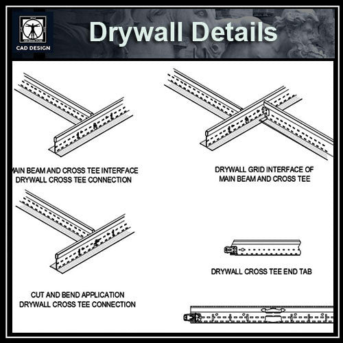 Drywall Details - CAD Design | Download CAD Drawings | AutoCAD Blocks | AutoCAD Symbols | CAD Drawings | Architecture Details│Landscape Details | See more about AutoCAD, Cad Drawing and Architecture Details