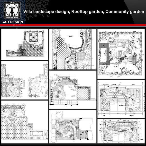 ★【Villa Landscape design,Rooftop garden,Community garden CAD Drawings Bundle V.1】All kinds of Landscape design CAD Drawings