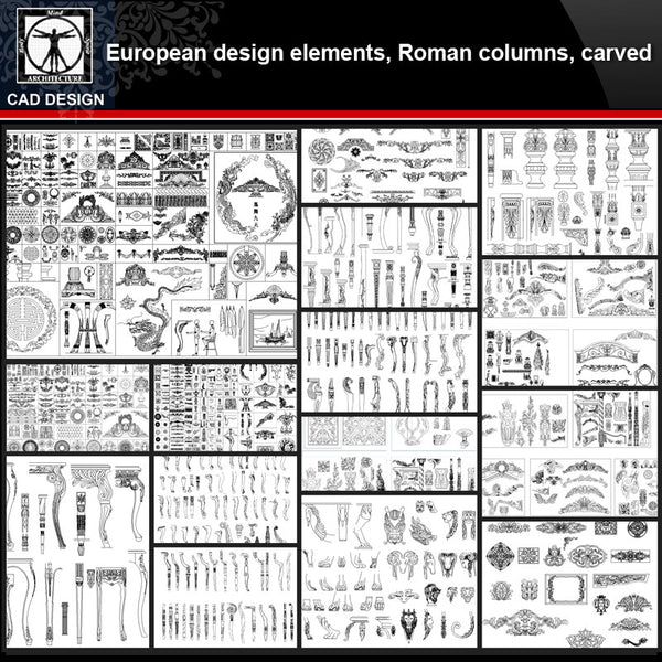 ★【European Architecture design elements,Roman columns,Carved】All kinds of European Architecture CAD Blocks Bundle - CAD Design | Download CAD Drawings | AutoCAD Blocks | AutoCAD Symbols | CAD Drawings | Architecture Details│Landscape Details | See more about AutoCAD, Cad Drawing and Architecture Details