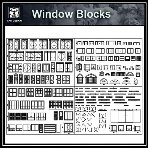 Windows Blocks - CAD Design | Download CAD Drawings | AutoCAD Blocks | AutoCAD Symbols | CAD Drawings | Architecture Details│Landscape Details | See more about AutoCAD, Cad Drawing and Architecture Details