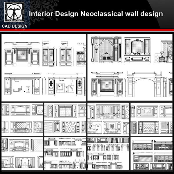 ★【Interior design Neoclassical wall design V2】All kinds of Neoclassical wall design CAD drawings Bundle