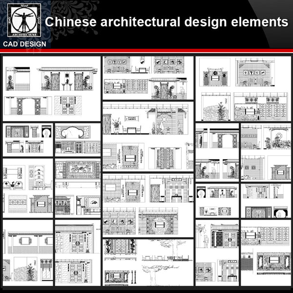 ★【Chinese Architectural Design CAD elements】All kinds of Chinese Architectural CAD Blocks Bundle