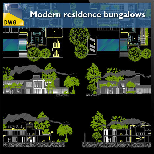 Modern Residence Bungalows Cad Design Free Cad Blocks Drawings