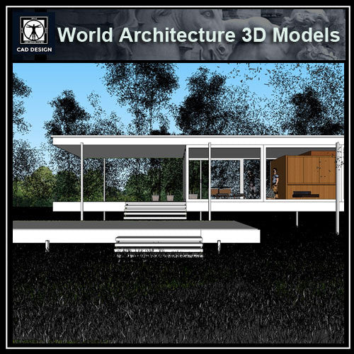 Sketchup 3D Architecture models- Farnsworth house by Ludwig Mies van der Rohe - CAD Design | Download CAD Drawings | AutoCAD Blocks | AutoCAD Symbols | CAD Drawings | Architecture Details│Landscape Details | See more about AutoCAD, Cad Drawing and Architecture Details