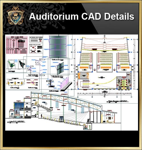 ★【Auditorium CAD Details Drawings】@Auditorium Design,Autocad Blocks,AuditoriumDetails,Auditorium Section,Auditorium elevation design drawings