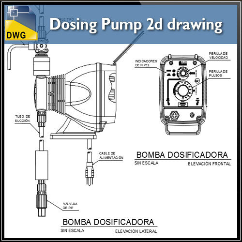 Dosing pump 2d drawing in autocad dwg files
