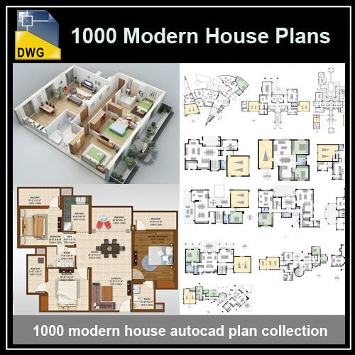 1000 Modern House Autocad Plan Collection   CAD Design | Download CAD  Drawings | AutoCAD Blocks