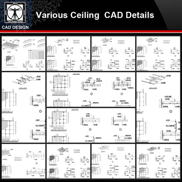 ★【Ceiling line,Corner flower,Parquet Autocad Blocks V2】All kinds of Ceiling design CAD drawings Bundle - CAD Design | Download CAD Drawings | AutoCAD Blocks | AutoCAD Symbols | CAD Drawings | Architecture Details│Landscape Details | See more about AutoCAD, Cad Drawing and Architecture Details