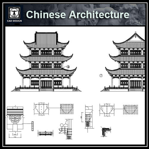 Chinese Architecture CAD Drawings - CAD Design | Download CAD Drawings | AutoCAD Blocks | AutoCAD Symbols | CAD Drawings | Architecture Details│Landscape Details | See more about AutoCAD, Cad Drawing and Architecture Details