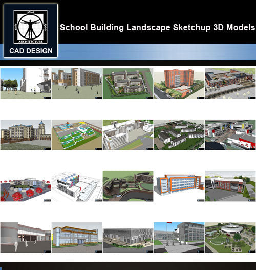 【Sketchup 3D Models】20 Types of School Design Sketchup 3D Models  V.7 - CAD Design | Download CAD Drawings | AutoCAD Blocks | AutoCAD Symbols | CAD Drawings | Architecture Details│Landscape Details | See more about AutoCAD, Cad Drawing and Architecture Details