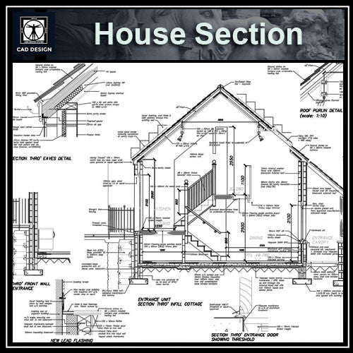 CAD Details Collection-House Section - CAD Design | Download CAD Drawings | AutoCAD Blocks | AutoCAD Symbols | CAD Drawings | Architecture Details│Landscape Details | See more about AutoCAD, Cad Drawing and Architecture Details