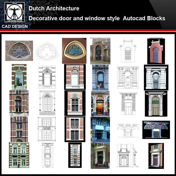 ★【Dutch Architecture Style Design】Dutch architecture · Decorative door and window style CAD Drawings - CAD Design | Download CAD Drawings | AutoCAD Blocks | AutoCAD Symbols | CAD Drawings | Architecture Details│Landscape Details | See more about AutoCAD, Cad Drawing and Architecture Details