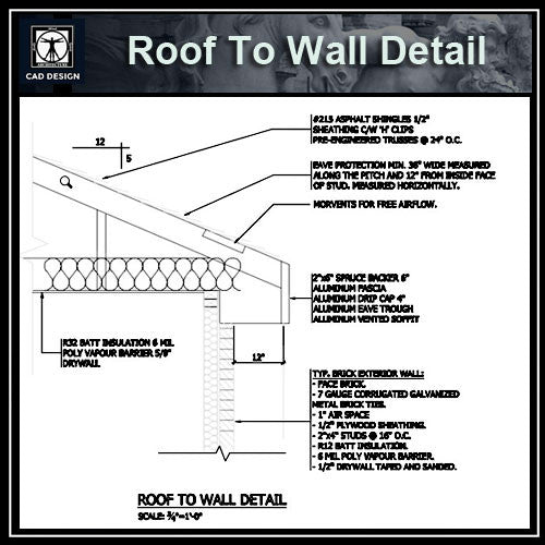 Free CAD Details-Roof To Wall Detail - CAD Design | Download CAD Drawings | AutoCAD Blocks | AutoCAD Symbols | CAD Drawings | Architecture Details│Landscape Details | See more about AutoCAD, Cad Drawing and Architecture Details