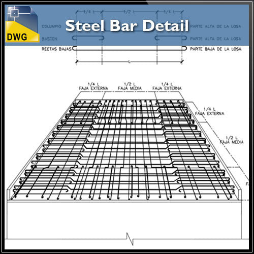 Free Steel Bar Detail - CAD Design | Download CAD Drawings | AutoCAD Blocks | AutoCAD Symbols | CAD Drawings | Architecture Details│Landscape Details | See more about AutoCAD, Cad Drawing and Architecture Details