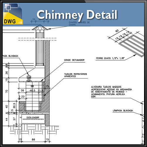 Chimney Detail - CAD Design | Download CAD Drawings | AutoCAD Blocks | AutoCAD Symbols | CAD Drawings | Architecture Details│Landscape Details | See more about AutoCAD, Cad Drawing and Architecture Details