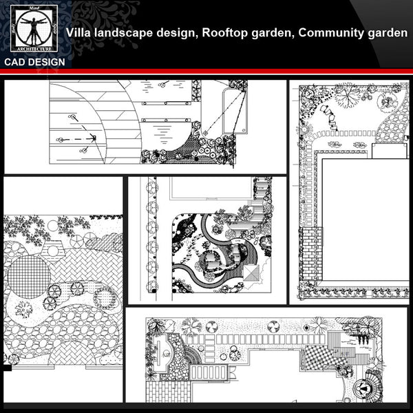 ★【Villa Landscape design,Rooftop garden,Community garden CAD Drawings Bundle V.4】All kinds of Landscape design CAD Drawings