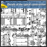 Details of the typical construction of canopy dwg files autocad files