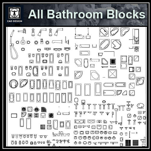 All Bathroom Blocks - CAD Design | Download CAD Drawings | AutoCAD Blocks | AutoCAD Symbols | CAD Drawings | Architecture Details│Landscape Details | See more about AutoCAD, Cad Drawing and Architecture Details