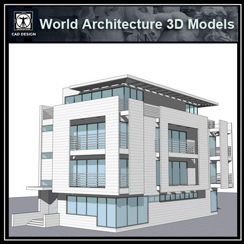 Sketchup 3D Architecture models- Rickmers House(Richard Meier) - CAD Design | Download CAD Drawings | AutoCAD Blocks | AutoCAD Symbols | CAD Drawings | Architecture Details│Landscape Details | See more about AutoCAD, Cad Drawing and Architecture Details