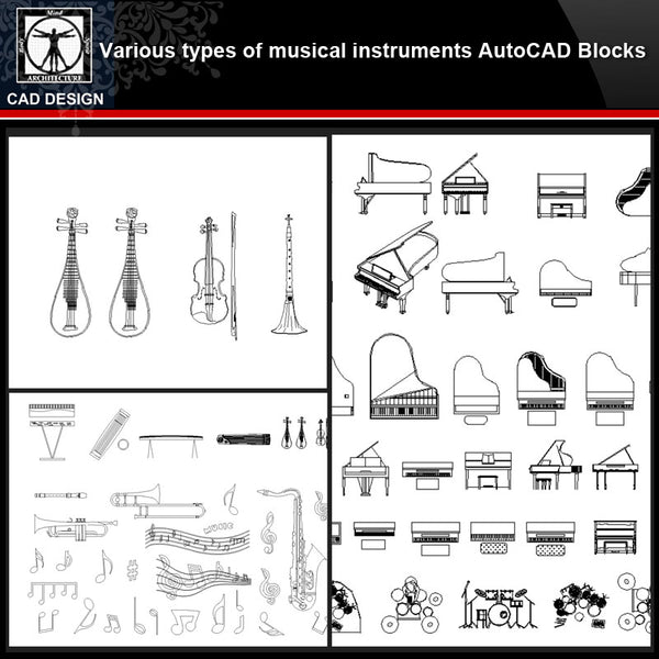 ★【Various types of musical instruments Autocad Blocks】All kinds of musical instruments CAD blocks Bundle - CAD Design | Download CAD Drawings | AutoCAD Blocks | AutoCAD Symbols | CAD Drawings | Architecture Details│Landscape Details | See more about AutoCAD, Cad Drawing and Architecture Details