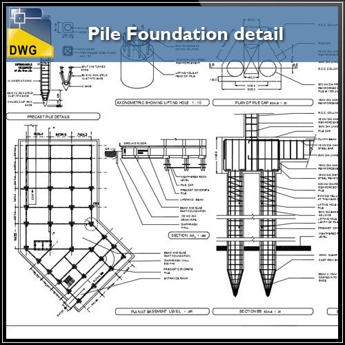 Pile Foundation details - CAD Design | Download CAD Drawings | AutoCAD Blocks | AutoCAD Symbols | CAD Drawings | Architecture Details│Landscape Details | See more about AutoCAD, Cad Drawing and Architecture Details