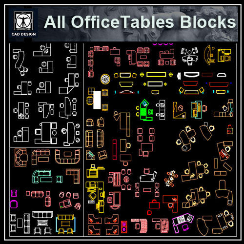 All Office Tables Blocks - CAD Design | Download CAD Drawings | AutoCAD Blocks | AutoCAD Symbols | CAD Drawings | Architecture Details│Landscape Details | See more about AutoCAD, Cad Drawing and Architecture Details