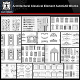 ★【Architectural Classical Element Autocad Blocks V.1】All kinds of architecture decorations CAD blocks Bundle - CAD Design | Download CAD Drawings | AutoCAD Blocks | AutoCAD Symbols | CAD Drawings | Architecture Details│Landscape Details | See more about AutoCAD, Cad Drawing and Architecture Details