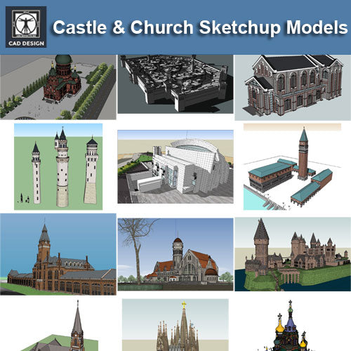 European Castle & Church 3D Models-Sketchup 3D Models(Best Recommanded!!)