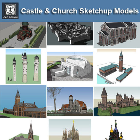 ●European Castle and Church Sketchup 3D Models
