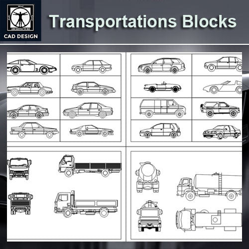 Transportation Blocks Bundle - CAD Design | Download CAD Drawings | AutoCAD Blocks | AutoCAD Symbols | CAD Drawings | Architecture Details│Landscape Details | See more about AutoCAD, Cad Drawing and Architecture Details