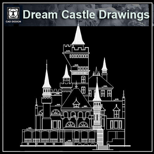 Dream Castle Cad Drawings 1 - CAD Design | Download CAD Drawings | AutoCAD Blocks | AutoCAD Symbols | CAD Drawings | Architecture Details│Landscape Details | See more about AutoCAD, Cad Drawing and Architecture Details